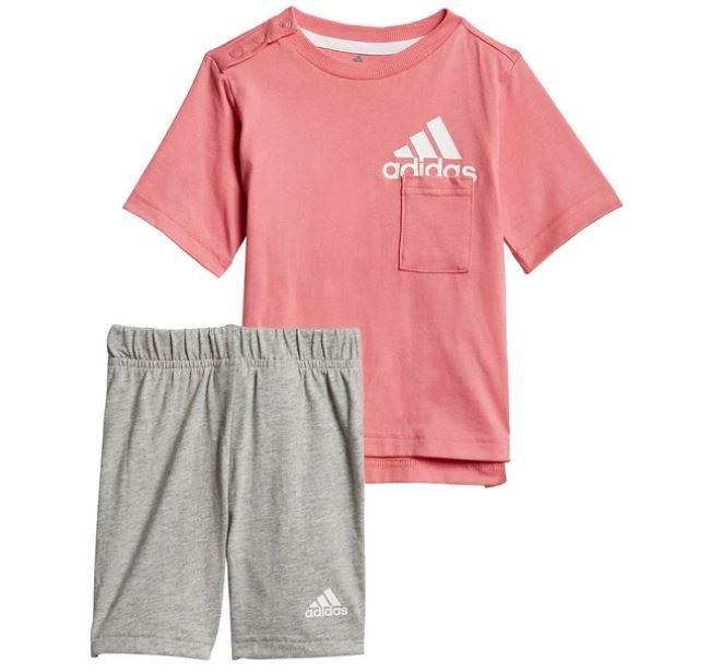 Conjunto Adidas Badge Of Sport Niña Pequeña Rosa Gris
