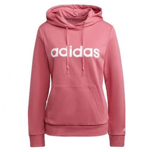 Adidas Sudadera con Capucha Essentials Linear Logo Rosa