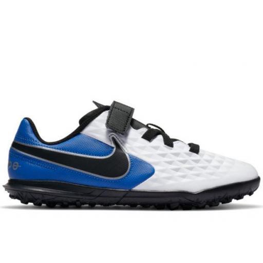 Bota Fútbol Nike Jr Legend 8 Club Turf PS Niño Velcro Azul/Blanco