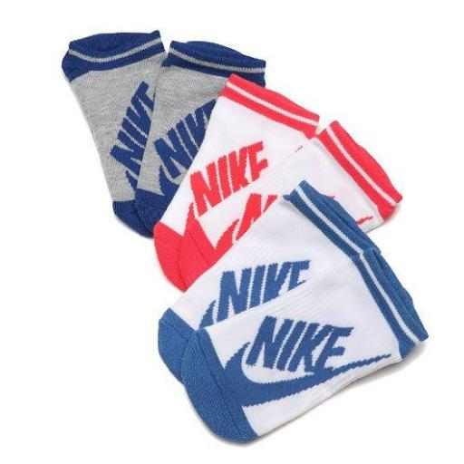 Calcetines Nike Pack 3 Striped No Show Blanco Azul Rosa [1]