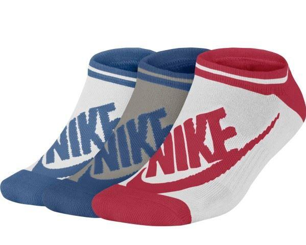 Calcetines Nike Pack 3 Striped No Show Blanco Azul Rosa