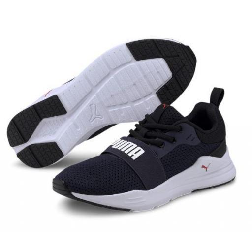 Zapatillas Puma Wired Run Junior Azul/Blanco