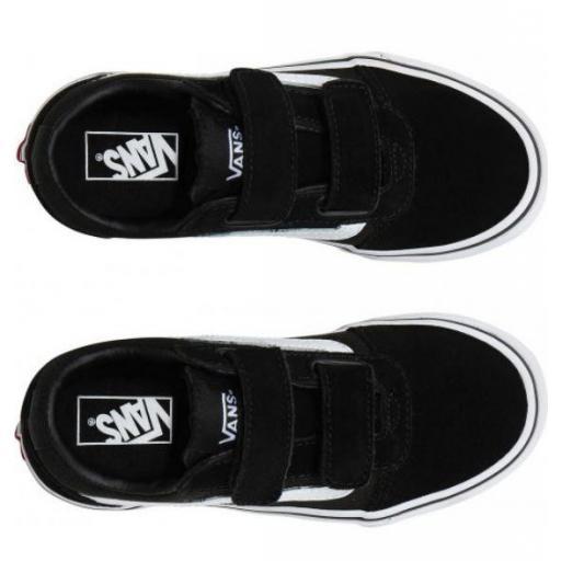 Zapatillas Vans Ward Suede Canvas Velcro Niños Negro/Blanco [2]