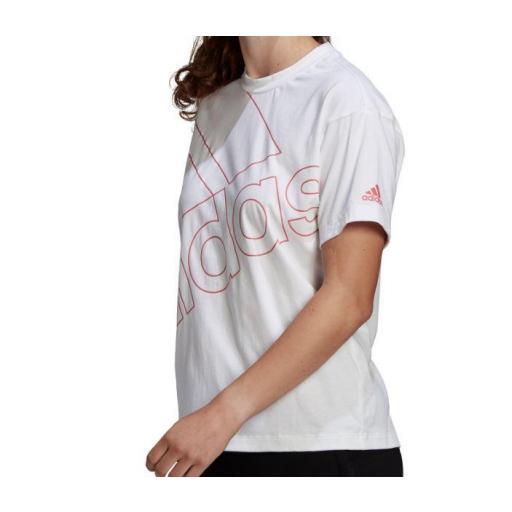Camiseta Adidas Essentials Giant Logo Tee Blanco/Rosa [1]
