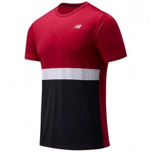 Camiseta New Balance Striped Accelerate SS Negro/Granate