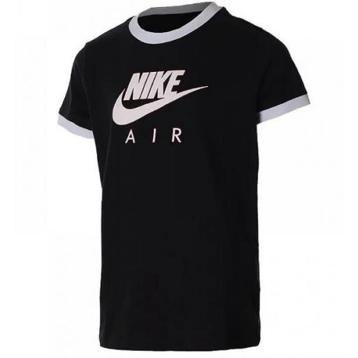 Camiseta Nike Air Sportswear Tee Ringer Niña Negro/Blanco
