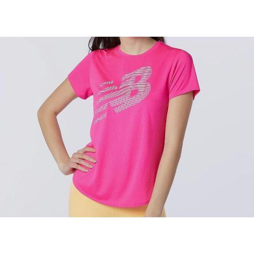 Camiseta New Balance Printed Accelerate SS Mujer Rosa