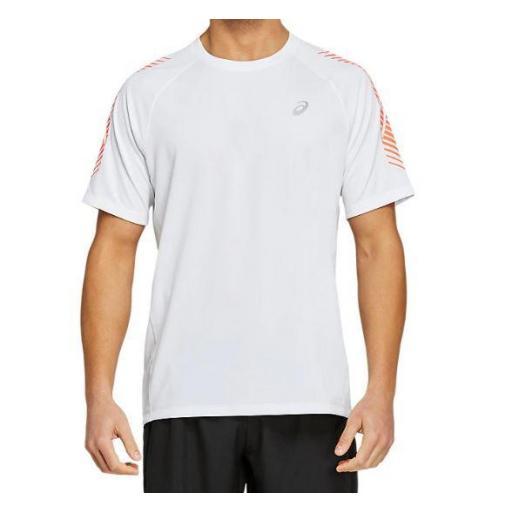 Asics Camiseta Manga Corta Icon SS Top Blanco/Coral