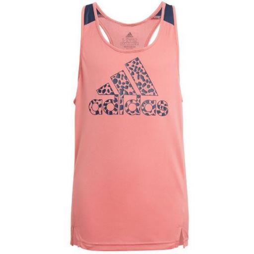 Camiseta Tirantes Adidas D2M Leopard Niñas Rosa
