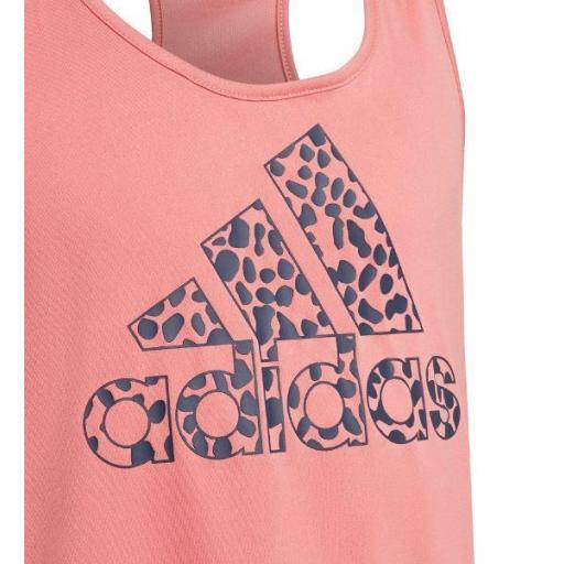 Camiseta Tirantes Adidas D2M Leopard Niñas Rosa [1]