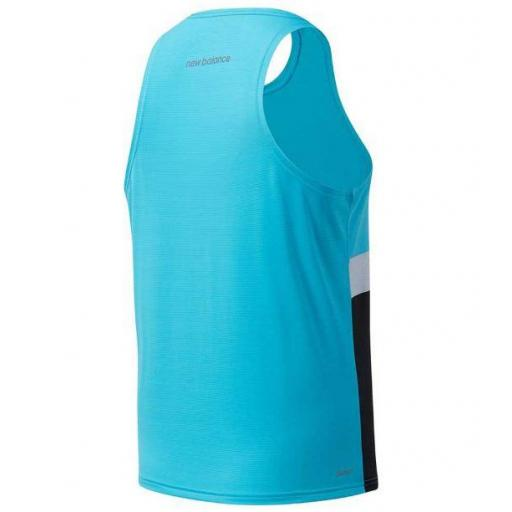 Camiseta Tirantes New Balance Striped Accelerate Hombre Azul [1]