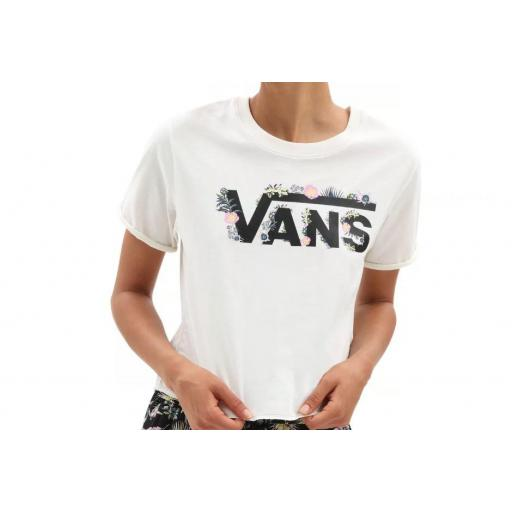 Camiseta Vans Blozzom Roll Out Mujer Blanco/Logo Flores [1]