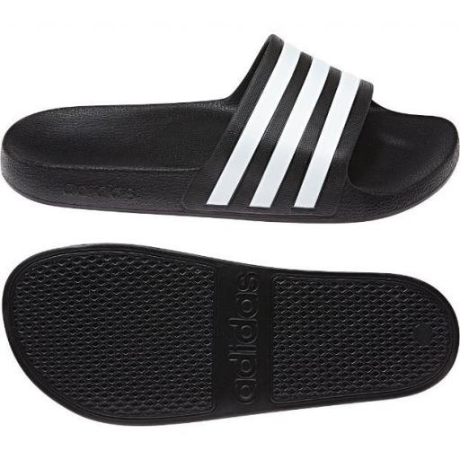 Chanclas Adidas Adilette Aqua Negra/Blanca