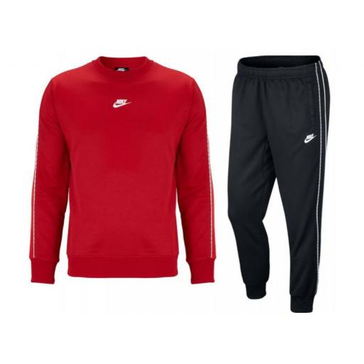 Chandal Nike Sportswear Repeat Poly Crew PK Rojo/Negro