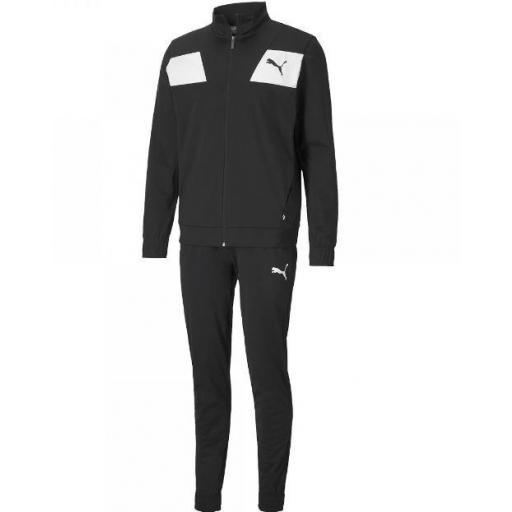 Chándal Puma Techstripe Tricot Suit CL Negro/Blanco