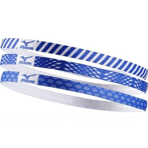 Cinta Pelo Mizuno HeadBand Pack 3 Unidades Azul Blanca