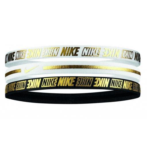 Cinta Pelo Nike Hairbands Pack 3 Unidades Negro/Blanco/Dorado