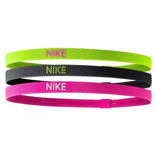 Cinta Pelo Nike Elastic Hairbands Pack 3 Verde Negro Rosa