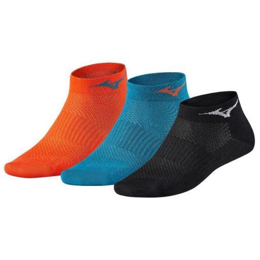 Calcetines Mizuno Training Drylite Mid Pack 3 Ud Naranja Azul Negro