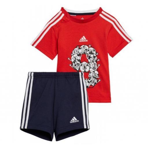 Adidas Conjunto Niño Pequeño Lil 3 Stripes Sport Rojo/Azul