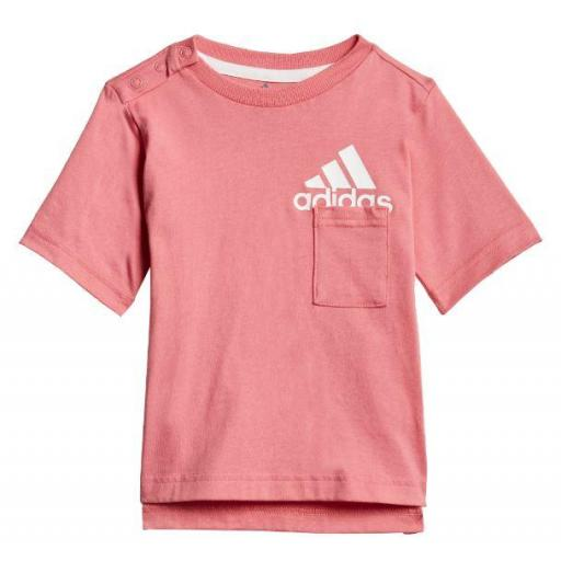 Conjunto Adidas Badge Of Sport Niña Pequeña Rosa Gris [1]