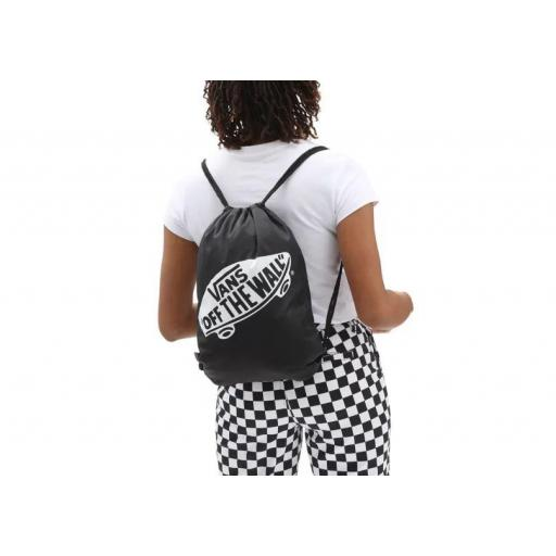 "Bolsa Saco Vans Benched Bag Logo ""Off The Wall"" Negro/Blanco [1]"