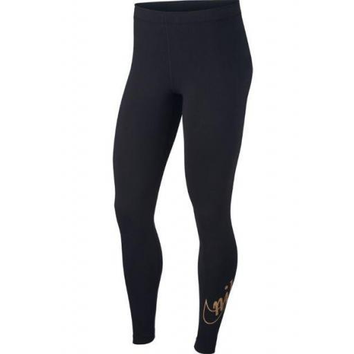 Malla Nike Sportswear Leggings Glitter Negro Dorado