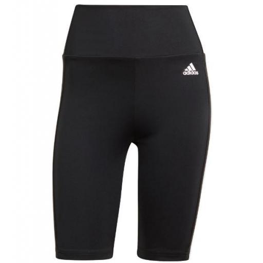 Malla Corta Adidas 3 Stripes Cintura Alta Negra/Blanca