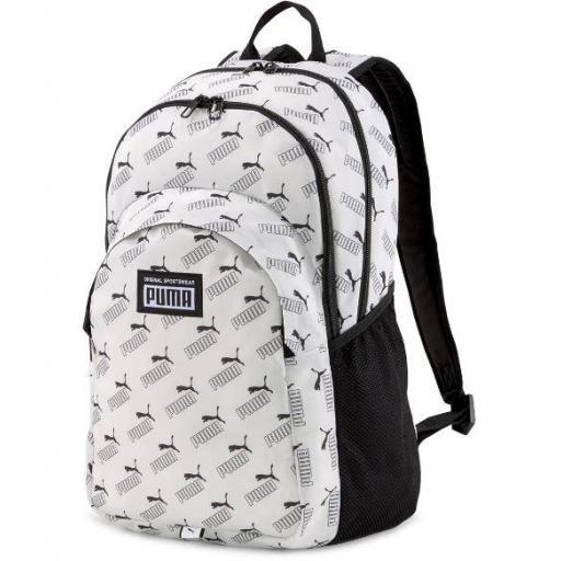 Mochila Puma Academy Backpack Logo Blanca/Negra