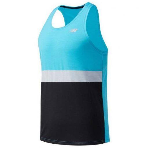 Camiseta Tirantes New Balance Striped Accelerate Hombre Azul