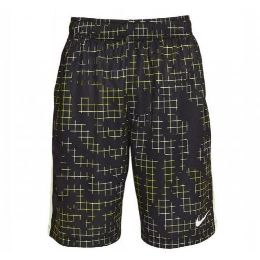 Nike Pantalón Corto Niño Dri-Fit Short AOP Negro/Verde/Amarillo