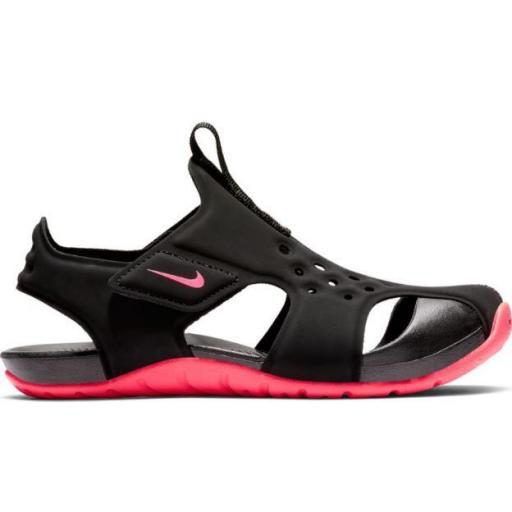 Sandalias Nike Sunray Protect 2 PS Niñas Velcro Negro/Rosa