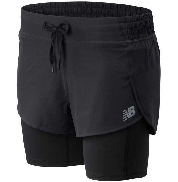 New Balance Pantalón corto con malla Impact Run 2in1 Negro