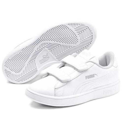 Zapatillas Puma Smash v2 PS Velcro Piel Blanco