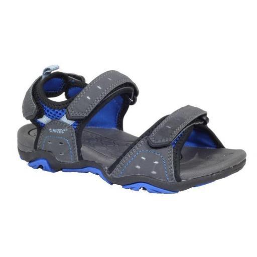 Sandalia Hi-Tec Arena Gris/Azul Velcro Niños