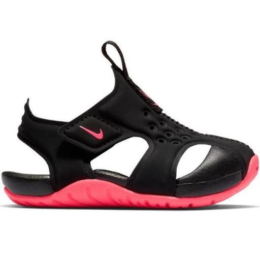 Nike Sandalias Sunray Protect 2 TD Niña Velcro Negro/Rosa