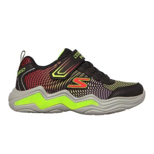 Zapatillas Skechers Luces S Lights-Erupters Velcro Negro/Verde