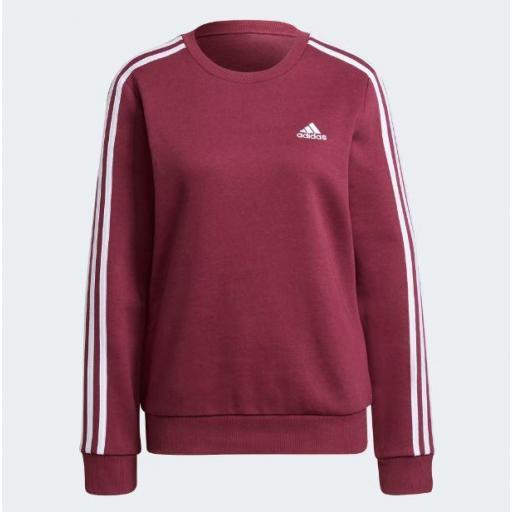 Sudadera Adidas Essentials 3S Fleece Mujer Granate/Burdeos
