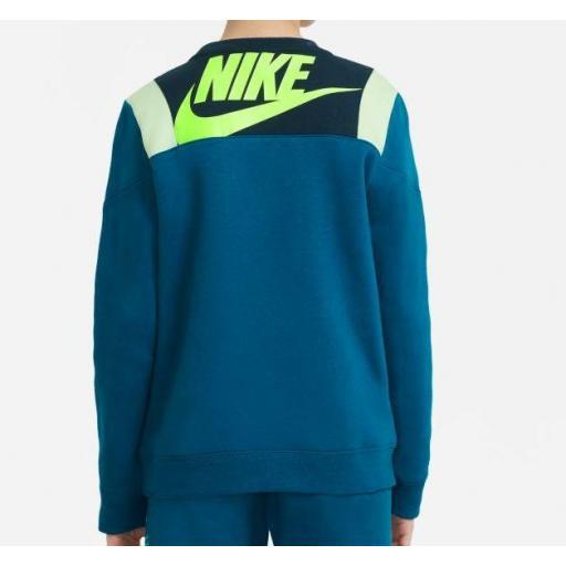 Sudadera Nike Niño Sportswear Amplify FLC Crew Azul/Verde [1]