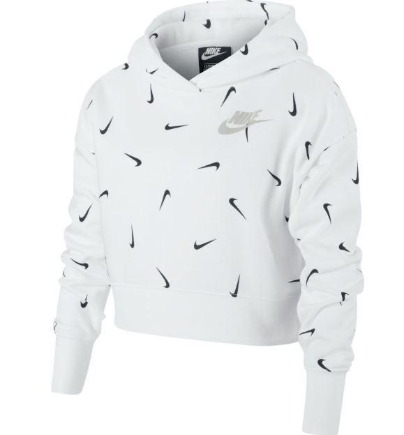 Sudadera Nike NSW Crop Hoodie Aop Niña Blanca