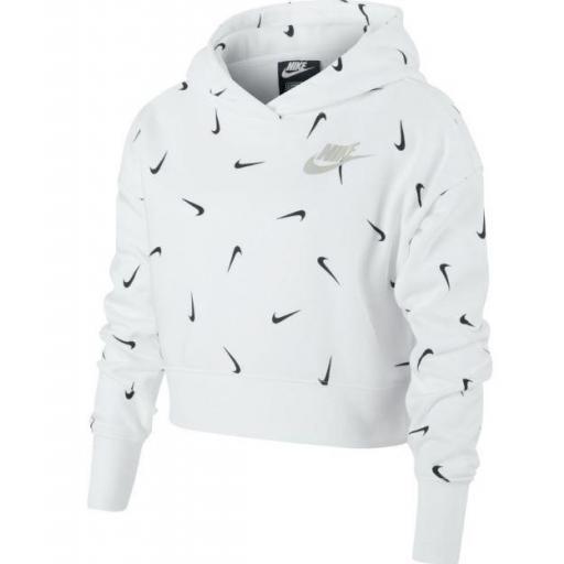 Sudadera Nike NSW Crop Hoodie Aop Niña Blanca [0]