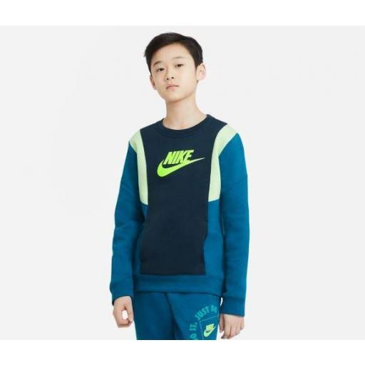 Sudadera Nike Niño Sportswear Amplify FLC Crew Azul/Verde [2]