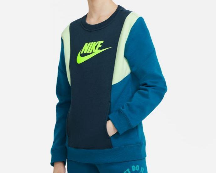 Sudadera Nike Niño Sportswear Amplify FLC Crew Azul/Verde