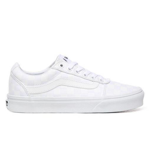 Zapatillas Vans Ward Checkerboard Mujer Blanca