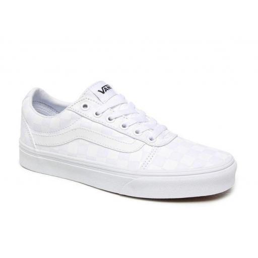 Zapatillas Vans Ward Checkerboard Mujer Blanca [1]