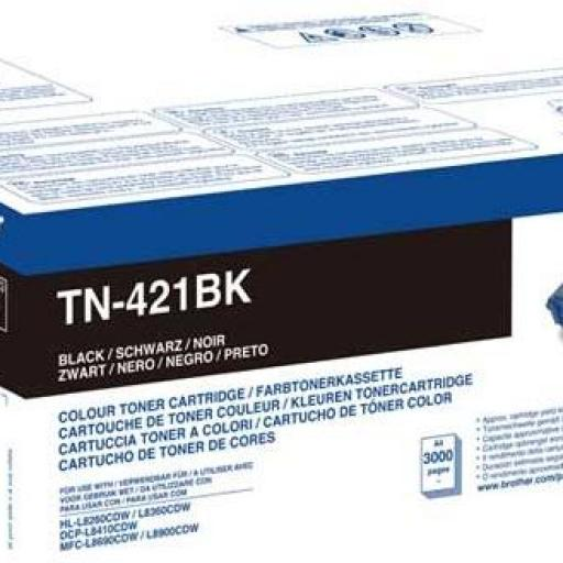 TN421BK	 FABRICANTE:	BROTHER	 FAMILIA:	CONSUMIBLES LASER BROTHER NUEVOS	 DESCRIPCION:	BROTHER Tóner Negro TN421BK
