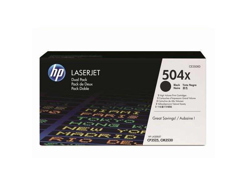 HP Toner Laser 504X Negro Pack 2 CE250XD