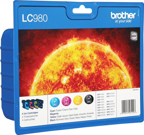 LC-980VALBP(LC980VALBP INKJET BROTHER Brother DCP-145C/DCP-165C, Pack 4 cartucho
