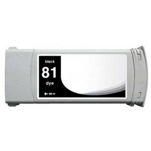 HP 81 Negro Cartucho de Tinta compatible - Reemplaza C4930A 680 ml