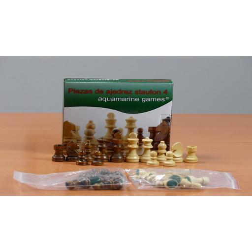Piezas de ajedrez Stauton 4 madera (aquamarine game) [1]